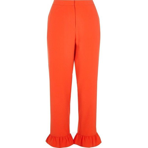 River Island Red frill hem cropped trousers ($76) ❤ liked on Polyvore featuring pants, capris, red, trousers, cropped pants, red trousers, tall pants, red crop pants and woven pants