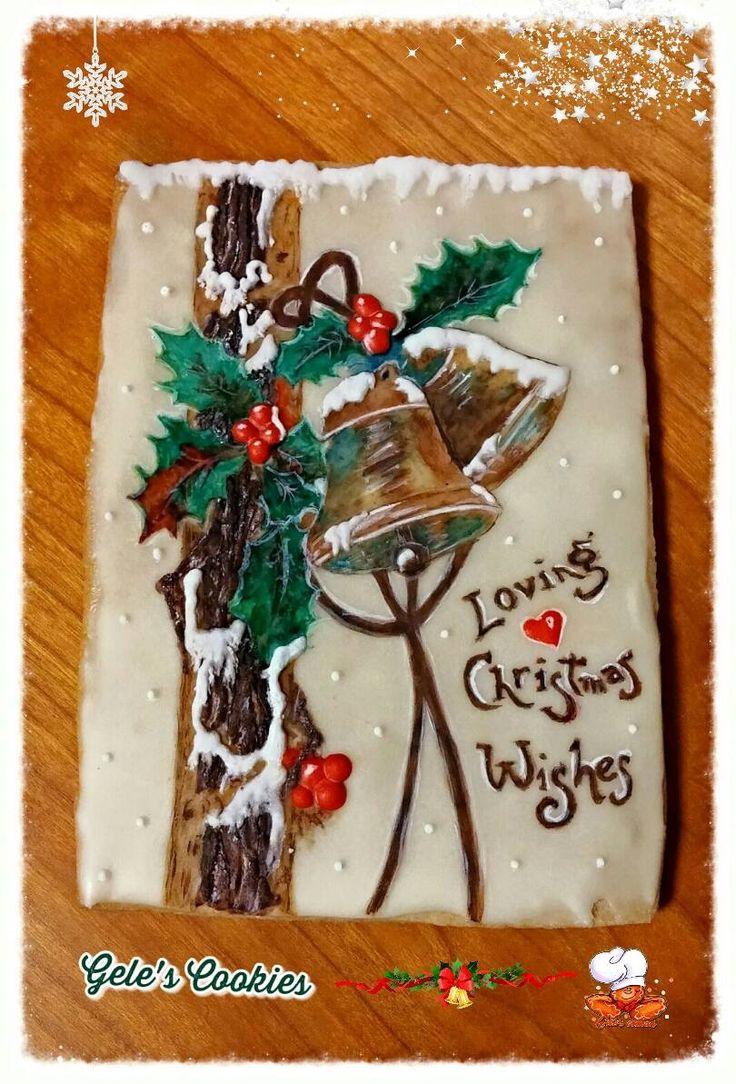 Galleta navideña campanas Royal icing y pintada a mano