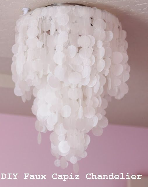 Making House a Home: DIY Faux Capiz Shell Chandelier ** Idea to cover up the hideous ceiling light in apartment??***