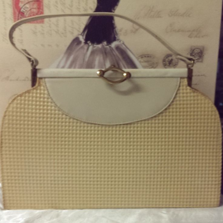 Vintage Early 1960\'s Cane Weave Look alike Handbag on Velvet Rose's Pin Up Dressing Room  A lovely vintage early 1960's Cane colour/patterned synthetic handbag (some age discoloration), lining is light brown satin . It is in good condition (except for discolouration and glue coming apart slightly on one side (see photo)) - it is deadstock and comes from a handbag manufacturer's warehouse. The measurements of the bag are width 34.5cm height 23 cm and depth 8cm. There is original newspaper…