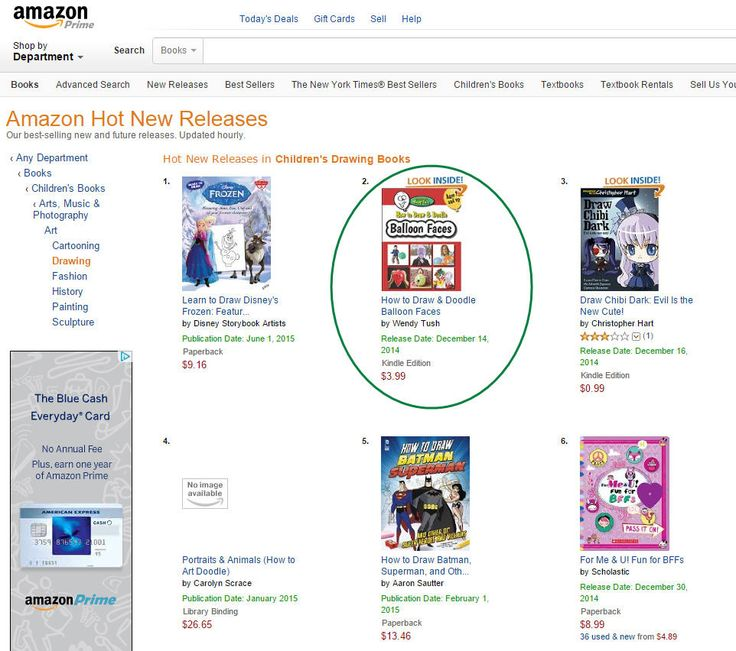 Aww. That's always cool to see. :-) How to Draw & Doodle Balloon Faces (ebook edition) is currently #2 under Amazon's Hot New Releases in Children's Drawing Books. http://www.wendytush.com/amazon-hot-new-releases-balloon-faces/