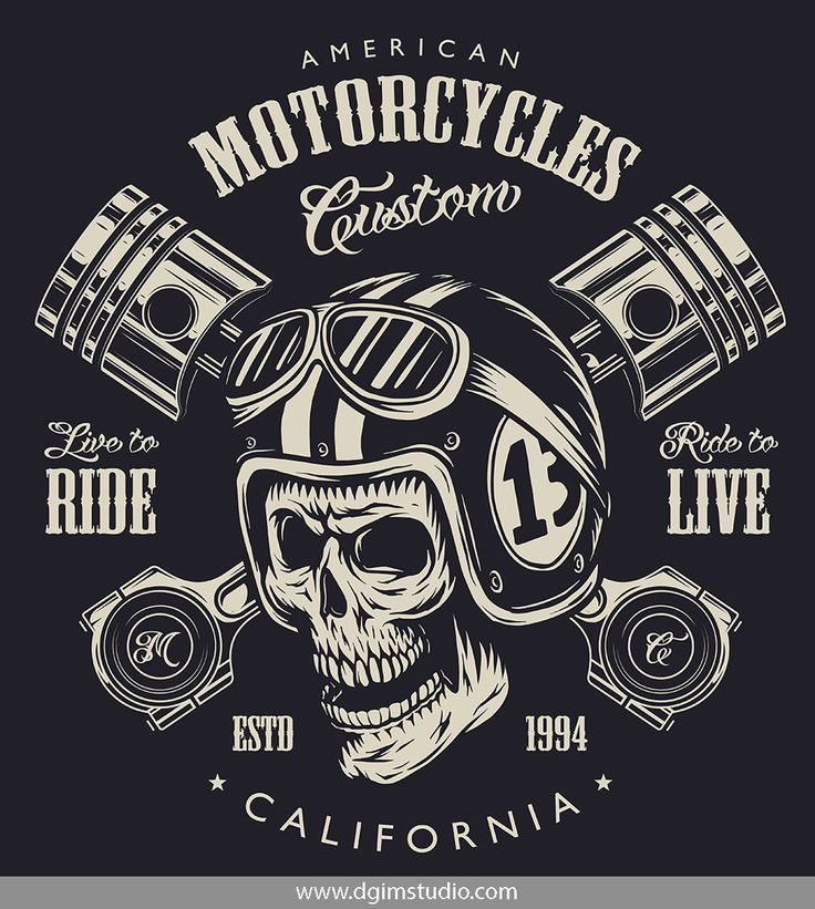 Vintage Monochrome Motorcyclist Skull In Moto Helmet And Goggles And Crossed Engine Pistons Click To Bike Logos Design Motorcycle Logo Motorcycles Logo Design