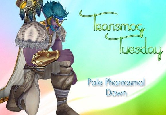It's #tranmogtuesday time! #warcraft For week 2  I challenged myself to put together a white/pale leather transmog set because whenever I flick through the appearances on my demon hunter or druid all I seem to see is shades of brown purple and green. So many different dark shades and very few light shades. This set is built around Phantasmal Headdress  and features white and gold. Its all leather and paired with Spire of Coagulated Globules as a weapon although Im sure you can find other…
