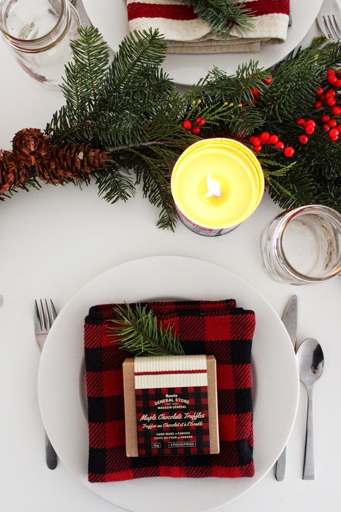 Deck the halls with a Holiday table setting for your Christmas dinner party.
