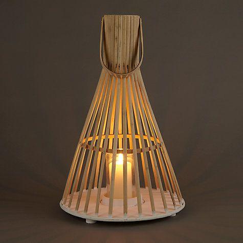 Buy Bamboo Tall Hurricane Lantern, Natural Online at johnlewis.com