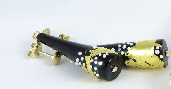 Black earings by Taleofglass on Etsy
