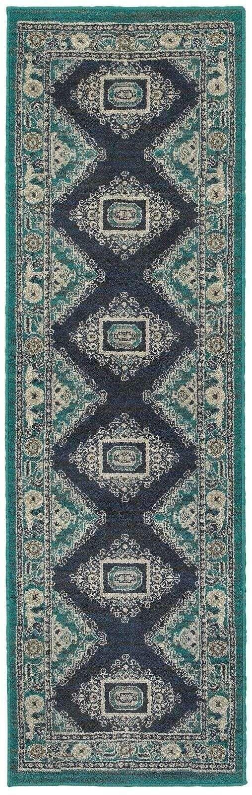 Highlands Blue Ivory Medallion Oriental Traditional Rug