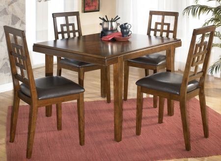 Image of D295225 Cimeran Dining Room Table Set With One Dining Table 4 Side Chairs Chair Seat Upholstered In Brown PVC in Medium