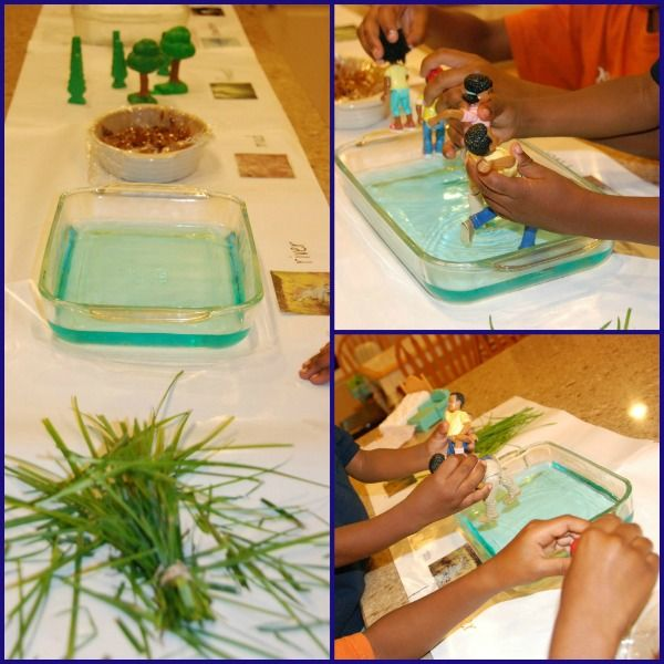 "Sensory & messy bear hunt play - set up a sequence of events from the story & act them out with small world figures, & fingers & hands ("",)"