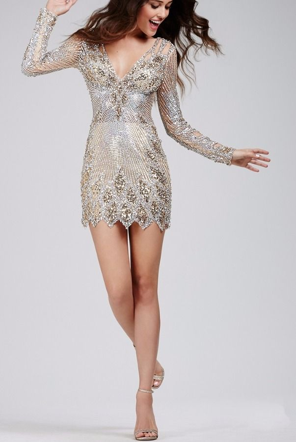 Jovani 27205 Sequin Stone Encrusted Beaded Cocktail Dress