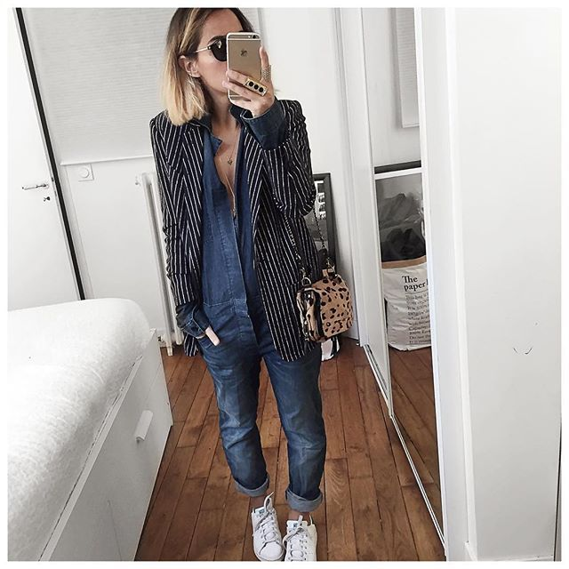 Le jour de la combi! • Wool Jacket #margauxlonnberg (from @shopnextdoor) • Denim Overall #bashparis (old) • Bag #jeromedreyfuss (old but available on @monnierfreres) ...