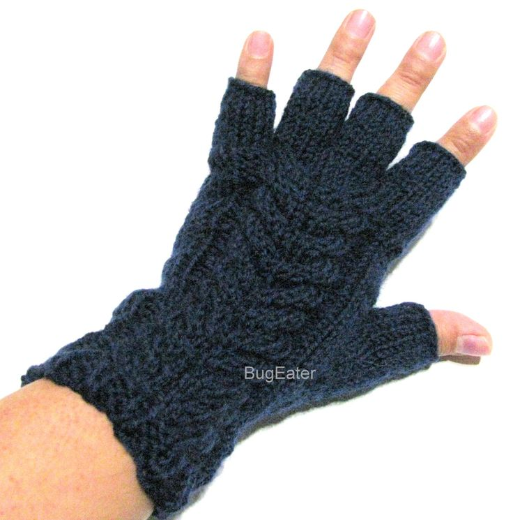 Men's wool fingerless gloves with cables, Mens size gloves, Black wool fingerless gloves, Half finger gloves, Mens knitted gloves - pinned by pin4etsy.com