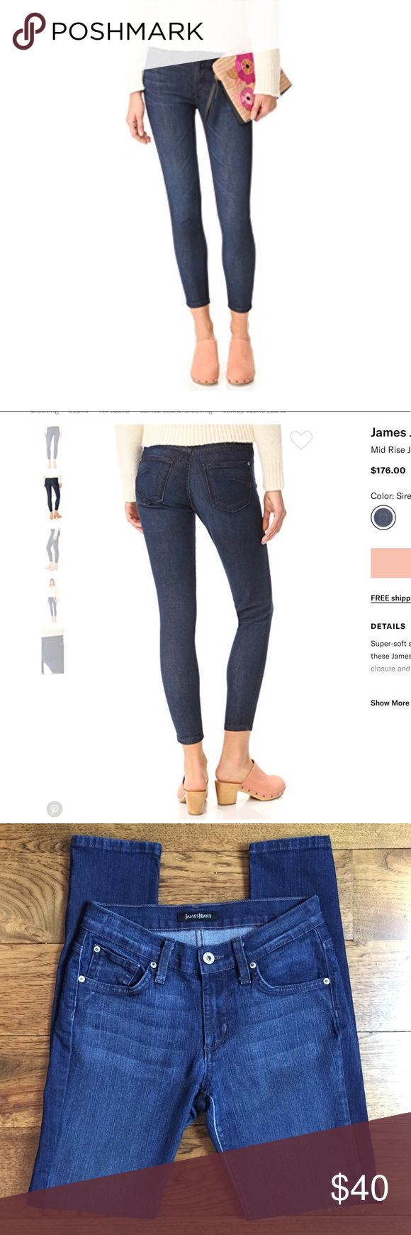 """James Twiggy Ankle Mid Rise Jeans in Siren Excellent used condition!  Super-soft stretch denim lends a comfortable, curve-hugging fit to these James Jeans cropped skinny jeans. 5-pocket styling. Button closure and zip fly.  Measures approximately 13.5"""" across waist lying flat and unstretched.  28"""" inseam, 8"""" rise. James Jeans Jeans Skinny"""