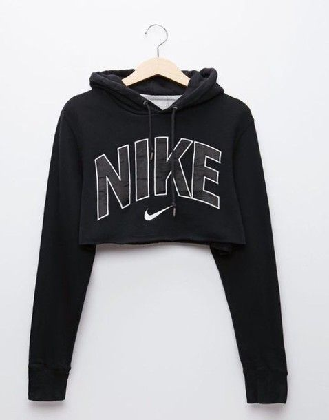 Wheretoget - Black Nike cropped hoodie sweatshirt