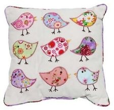 PRETTY BIRD CUSHION ~ APPLIQUED EMBROIDERED PATCHWORK in shabby pink and florals