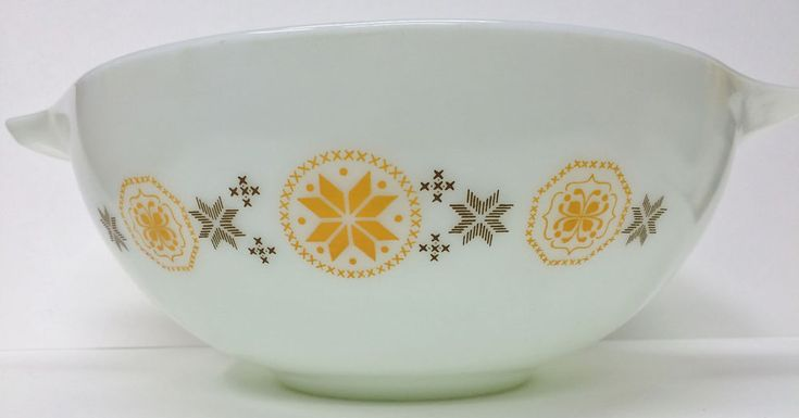 PYREX 4 QT CINDERELLA BOWL - TOWN & COUNTRY PENN DUTCH HEX SYMBOLS BROWN & ORANG #Pyrex