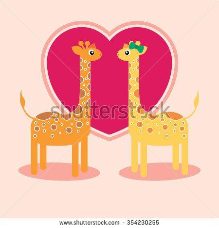Giraffes love - stock vector