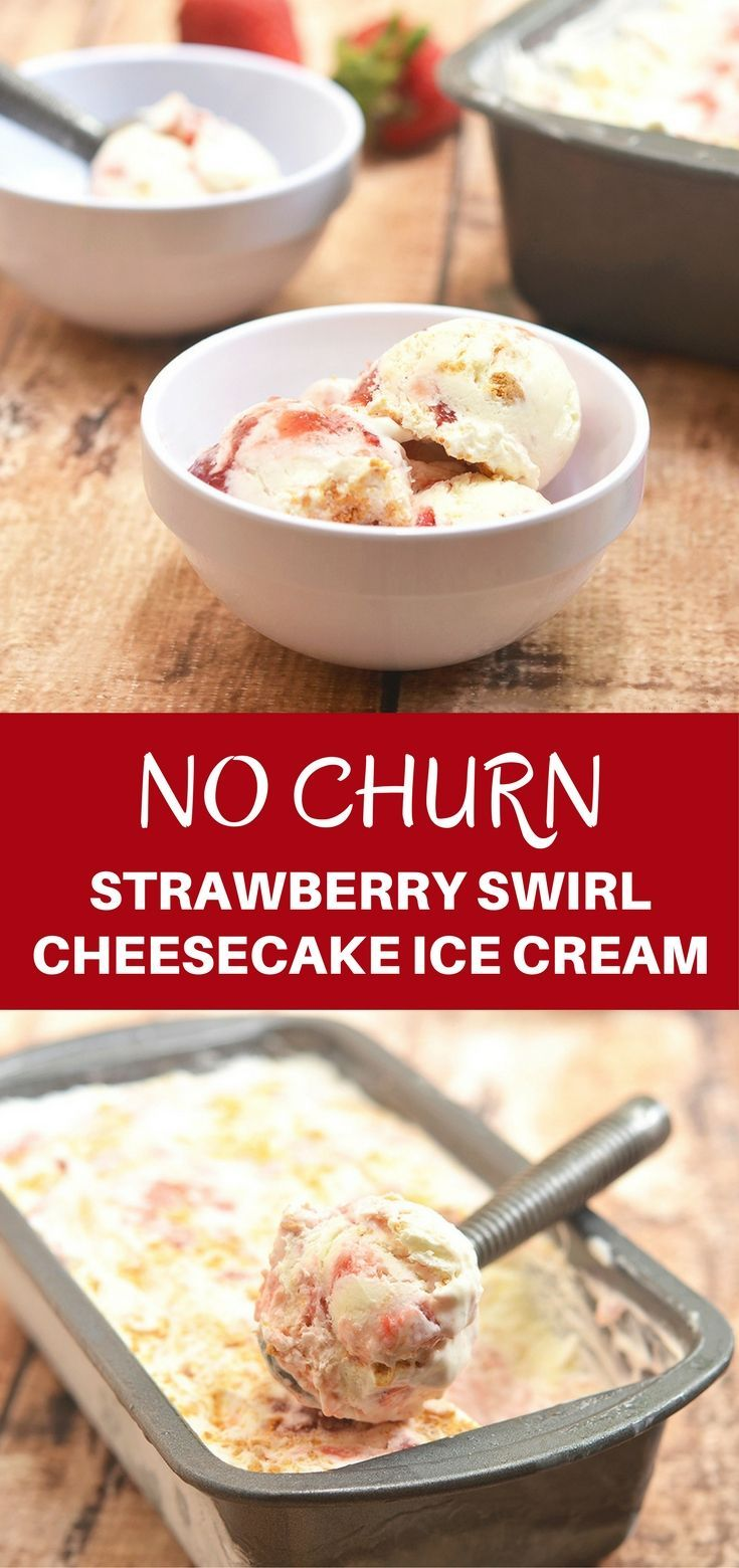 Strawberry Swirl Cheesecake Ice Cream bursting with strawberry and cheesecake flavor is a must for summer! It's rich and creamy with no churning or no ice cream maker needed.