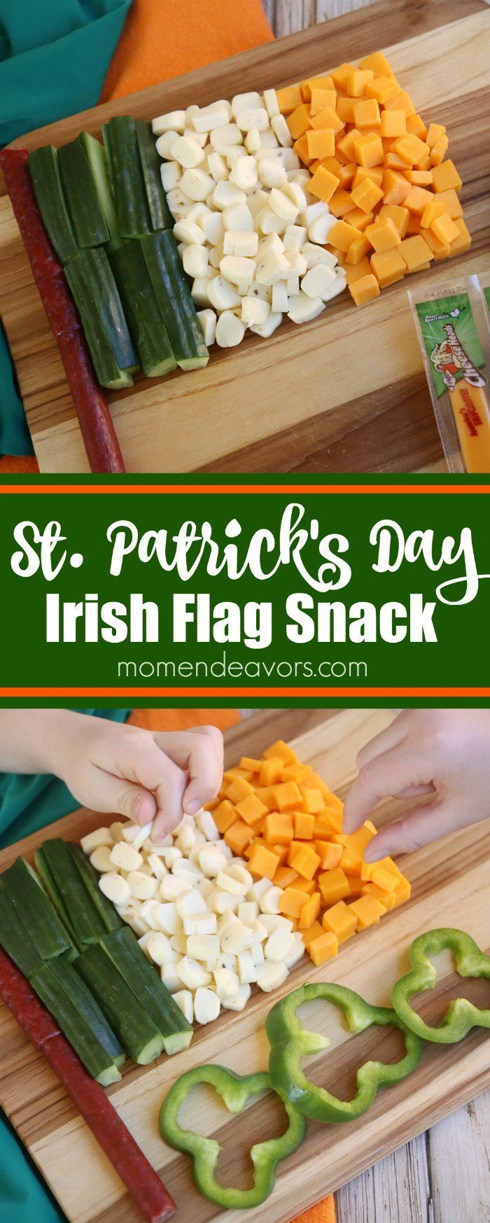 St. Patrick's Day Irish Flag Snack Idea. Sponsored by Frigo.