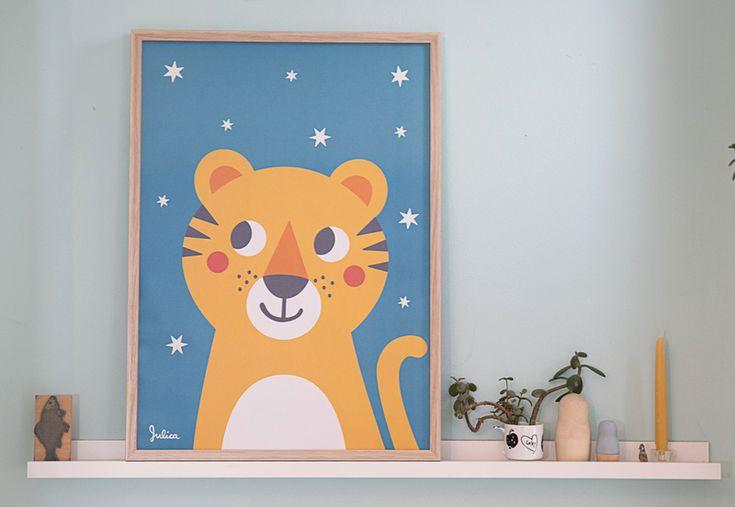 Tiger Poster - nachtleuchtend  von JulicaDesign auf DaWanda.com