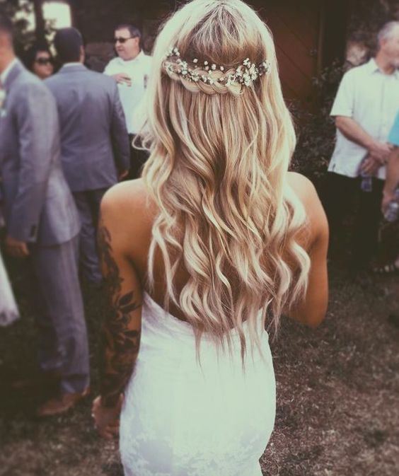 back braid crown wedding hairstyle with baby's breath - Deer Pearl Flowers / http://www.deerpearlflowers.com/wedding-hairstyle-inspiration/back-braid-crown-wedding-hairstyle-with-babys-breath/