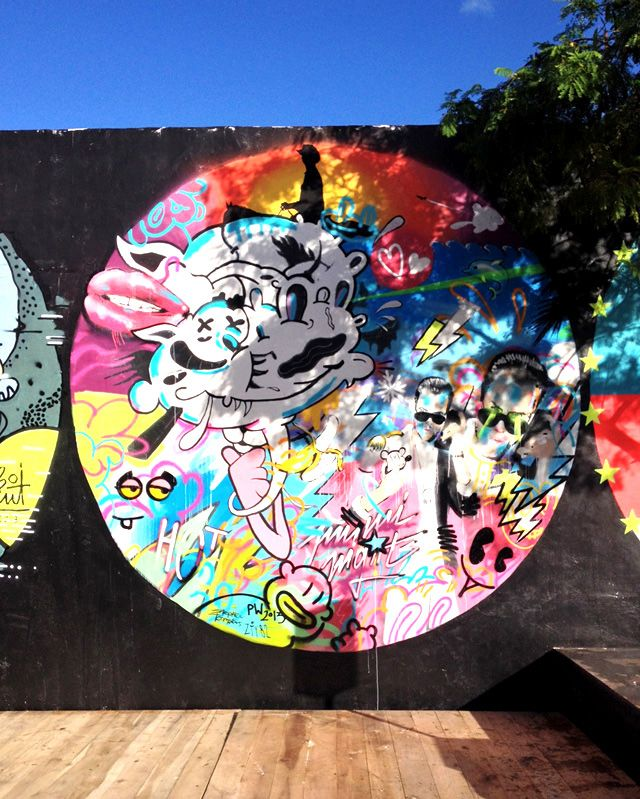 Quick and dirty collaboration with Perfekt World (Vienna), ZTY82 (Vienna) and Boicut (Germany). Miami Wynwood Walls 2013. #miami #streetart #urbanart #wynwoodwalls #graffiti