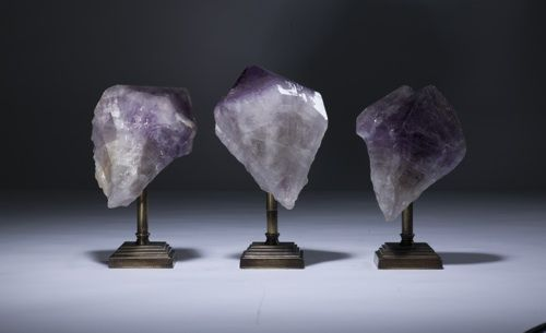 amethyst chunks on distressed brass stands