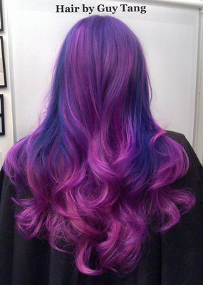 quad-tone ombre fusion of deep royal purple and magenta with hot pink and violet tones