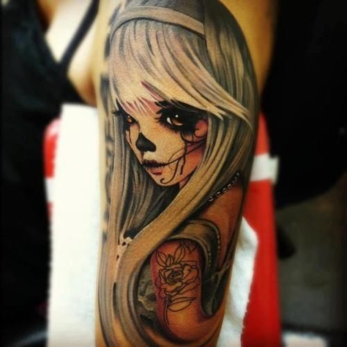 Gorgeous Skull Girl Tattoo Design.
