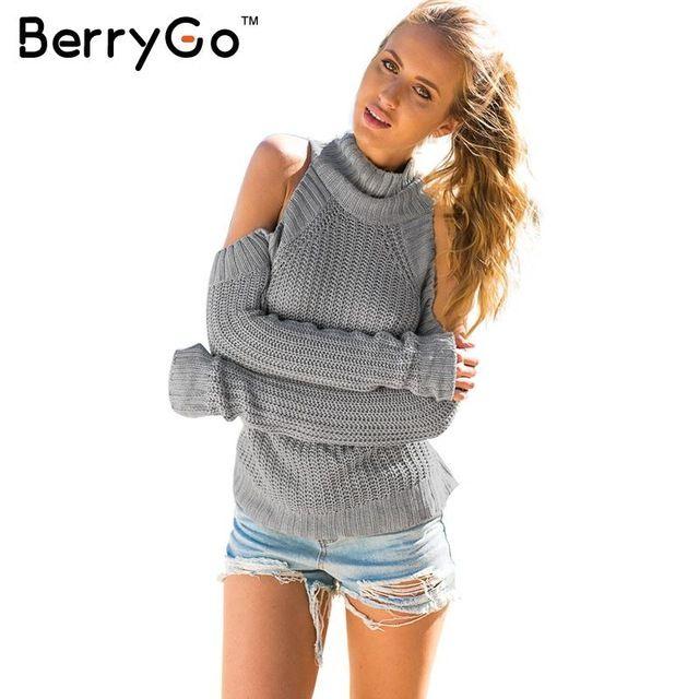 BerryGo cuello alto fuera del hombro sexy pullover sweater mujeres Tricot oversize jumper pull femme moda Otoño top de punto
