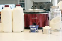 Crockpot Yogurt: Pour 1 gal whole milk in crockpot. Ad 2-3 cups powdered milk. Heat on low to 180 degrees then cool to 95-115 degrees, mix 1/2 cup of live culture yogurt in sm amt of warm milk til completely blended, then ad back to the rest of warm milk. Put milk in storage containers, place in oven w/ light on for 8 - 12 hrs. Put in fridge. gm