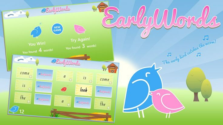 Early words // Early Words // Early Words has been designed by teachers to ensure that it's an application that is usable by children with minimal assistance from parents or teachers. Early Words engages children through an enjoyable memory match game. The game also has a fun turn based multiplayer option, allowing children to learn and play together. This application supports many of the popular sight word lists including the Dolche, Fry and Oxford sight word lists.