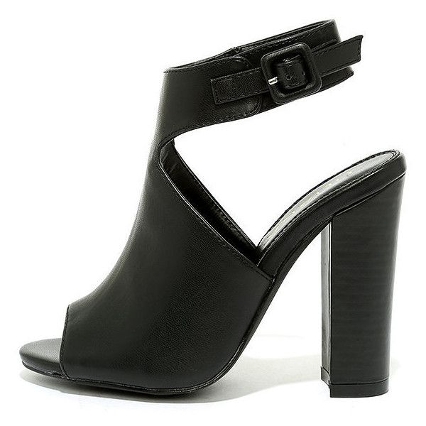 Somehow Someway Black Peep-Toe Booties (560 ZAR) ❤ liked on Polyvore featuring shoes, boots, ankle booties, heels, black, vegan boots, black peep toe boots, black peep toe booties, heeled booties and heel boots