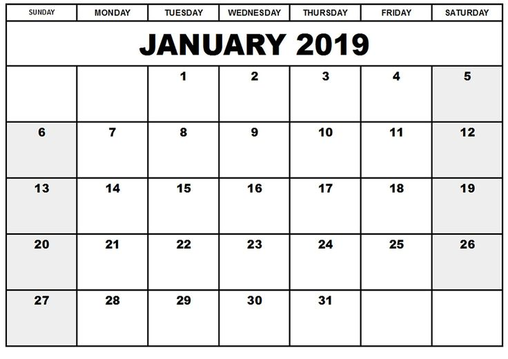 blank calendar january 2019 online