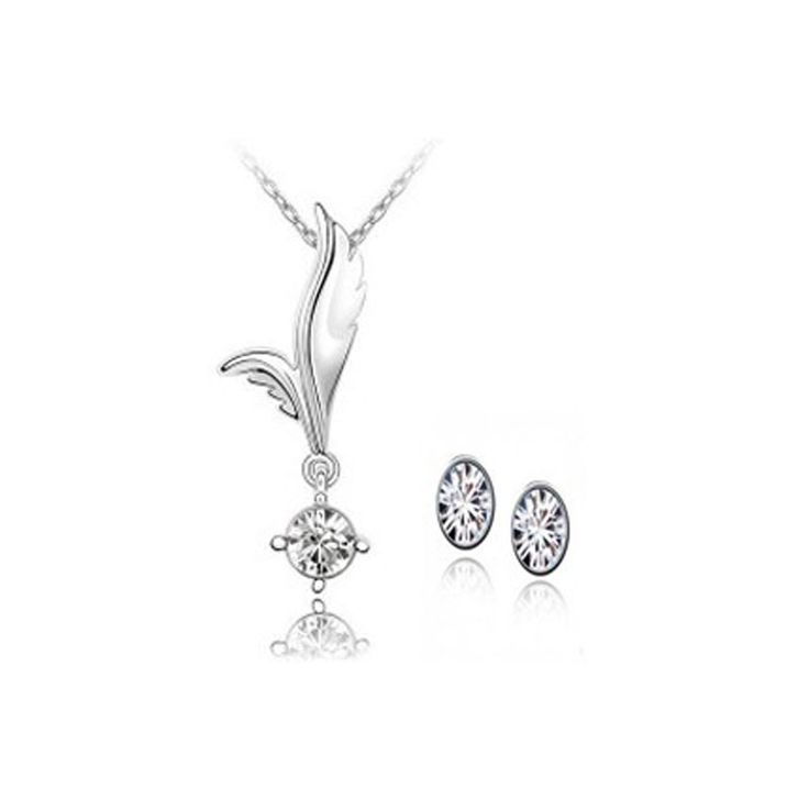 New 2014 Wholesale Crystal Necklace & Pendants Stud Earring African Costume Jewelry Set Silver Plated Wedding Jewelry For Women