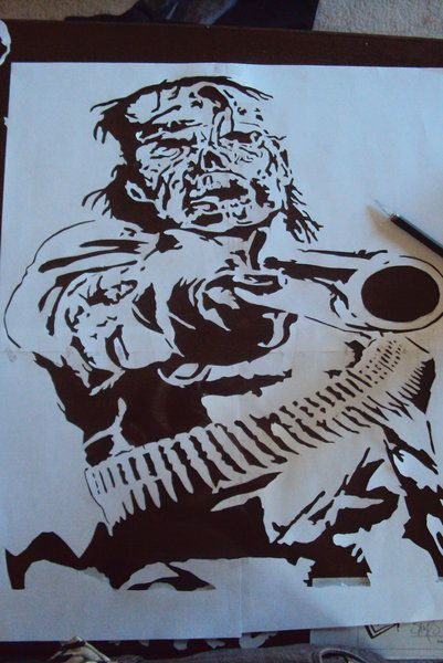 RDR Undead Nightmare stencil by fear-0f-james (print image)