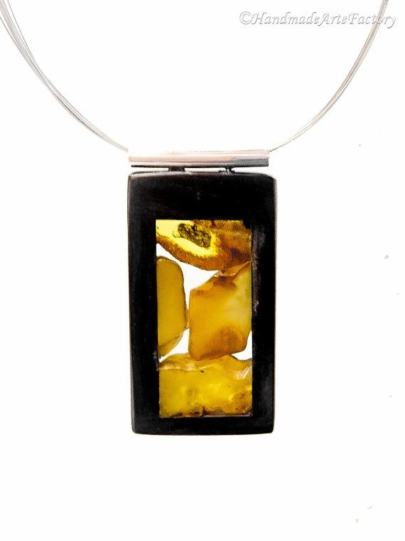 Exclusive Elegant Handmade Genuine Natural Baltic Sea Amber - Succinite - and Noble Variety of Wood - Ebony and Sterling Silver Cute BIZ1474