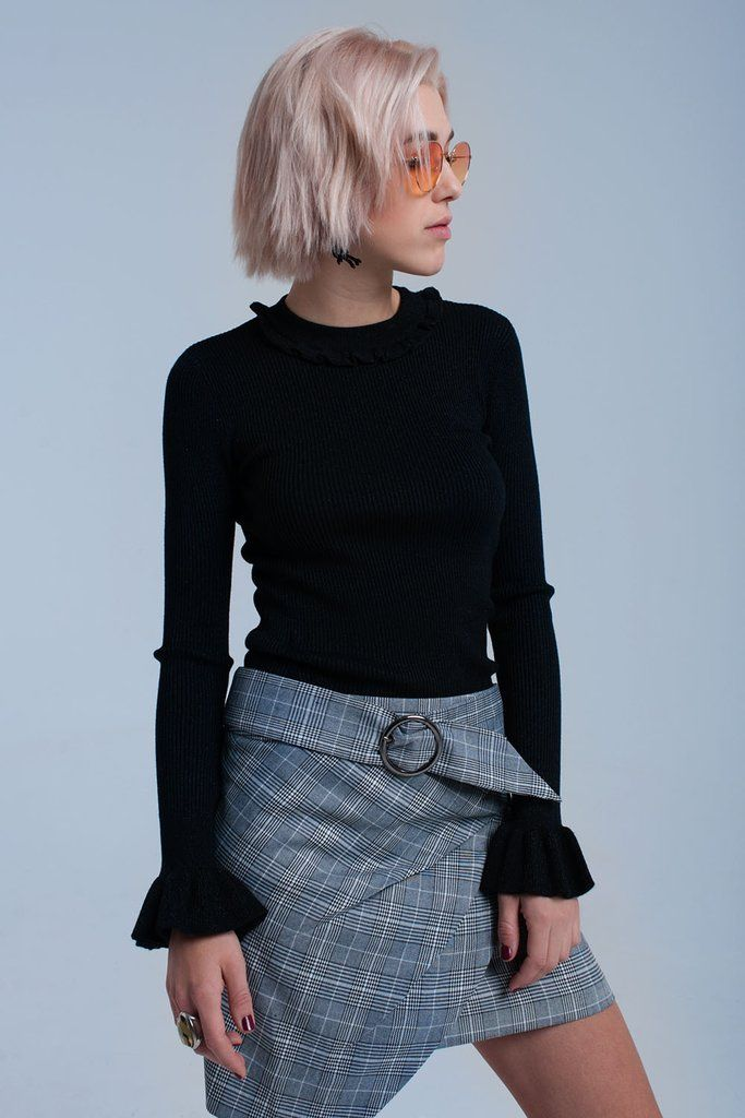 4fba8b73a2e144 Black shiny sweater Top with ruffle Sleeves in 2019 | COZY SWEATERS ...