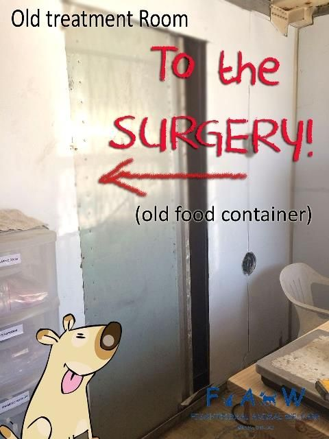 It took quite some time for Jason, who works at Tygerberg Animal Hospital to angle-grind his way through from our old treatment room to the old food container aka new surgery - we didn't realise it was stainless steel-lined! :-o  Thank you, JASON!  --------------------------------------- To find out how to help, please email info@faw.za.org, message us here, or call 082 773 2089 or 062 258 3547