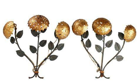 Pair of Florentine Brass and Iron Sconces on Chairish.com