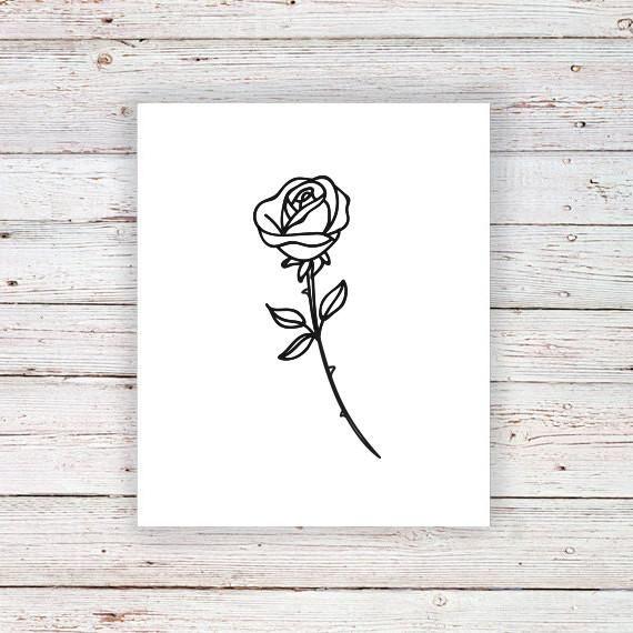 rose tattoo temporary lotus moon tattoos drawing roses tattoorary phase simple stem drawings sketches tiny flower kleine tatoos tijdelijke tatoo