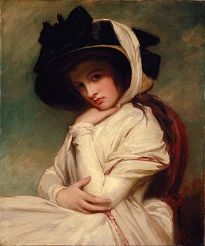 Emma, Lady Hamilton (26 April 1765; baptised 12 May 1765 – 15 January 1815) is best remembered as the mistress of Lord Nelson and as the muse of George Romney. She was born Amy Lyon in Ness near Neston, Cheshire, England, the daughter of a blacksmith, Henry Lyon, who died when she was two months old. She was brought up by her mother, formerly Mary Kidd, at Hawarden, with no formal education. She later changed her name to Emma Hart.