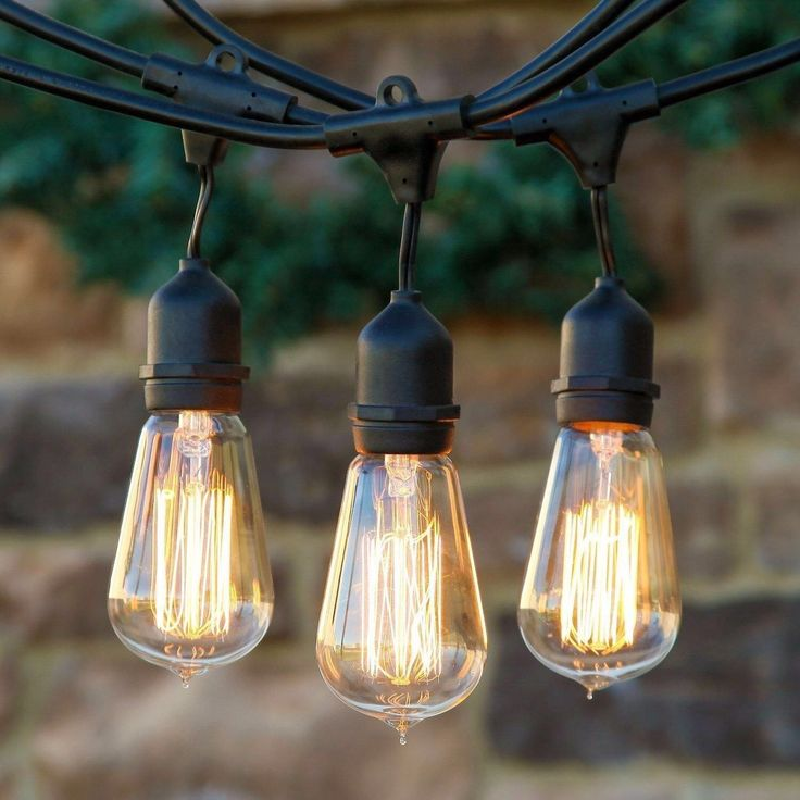 Weatherproof Outdoor String Lights With Vintage Edison Bulbs U2013 UL Listed    48 Feet Long With 15 Dropped Sockets  Perfect Patio Lights   Black