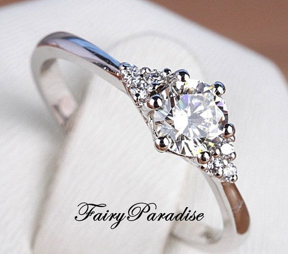 Petite 1 Ct Round Cut Lab Made Diamond Engagement door FairyParadise
