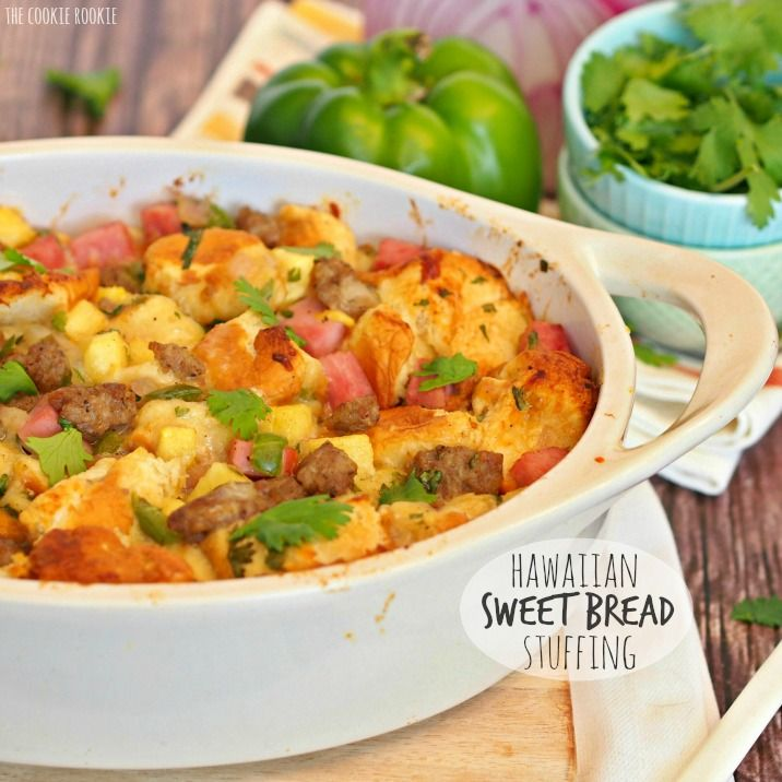 Delicious Hawaiian Sweet Bread Stuffing with Jones Sausage and Ham is the perfect Thanksgiving side dish! Perfect for the holiday, a family favorite!