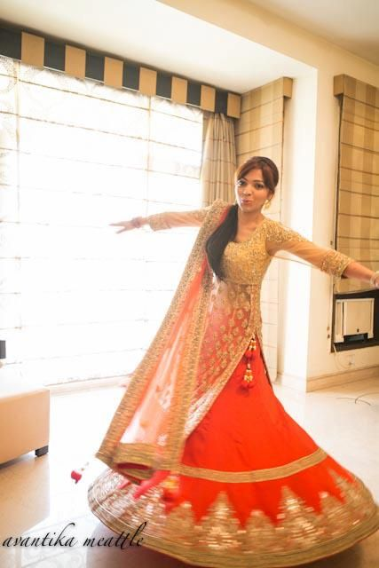 :) orange and gold lehnga