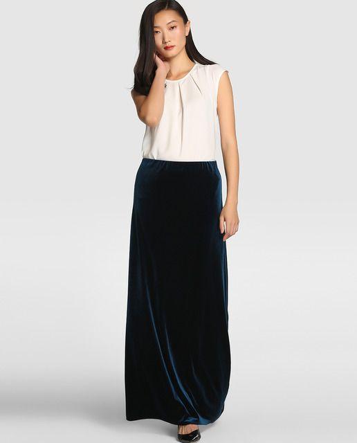 Falda larga de fiesta de terciopelo azul