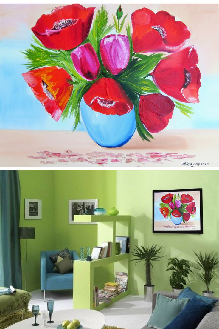 """Poppies and Tulips. Original Painting on Canvas. Personalized Gift. Wall Art. Contemporary Art. Canvas Painting. Perfect Gift for Her. Wall Decoration. Home Decor. 2016, 16"""" x 20"""". 40 x 50 cm. Unframed. AVAILABLE FOR IMMEDIATE PURCHASE. Ready to hang. Painted edges.  This is an ORIGINAL oil painting on a wrapped stretched canvas.   The materials I use, including canvases, paints and mediums are permanent and of professional quality. As far as only lightfast pigments are employed in those…"""