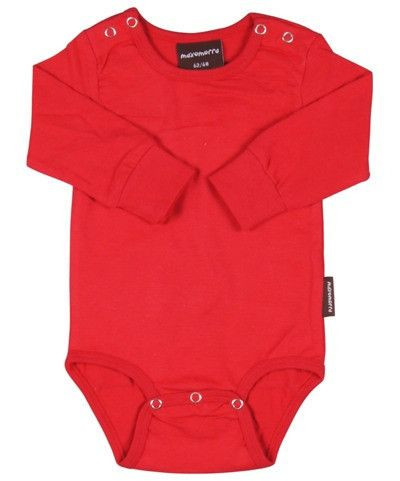 Maxomorra Red Long Sleeved Bodysuit