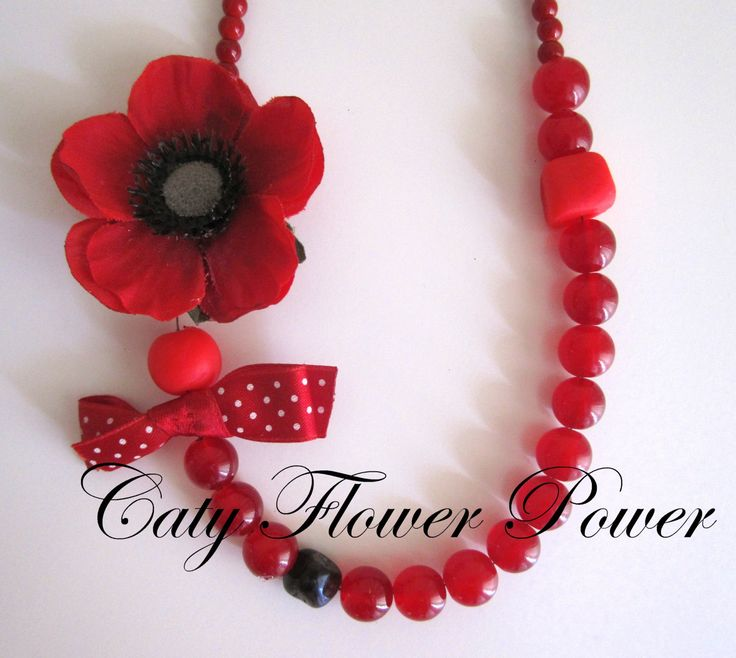 Red Flower Necklace Romantic Necklace Boho by catyflowerpower, $28.00